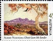 Francobollo australiano dedicato agli eucalipti fantasma dipinti da Namatjira